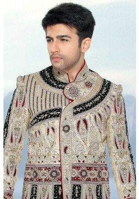 Cream Yellow #Jamawar and #BenarasiSilk Embroidered Wedding Sherwani Sku Code: 184-4722SH548217 US $758.00 http://www.sareez.com/cream-yellow-jamawar-and-benarasi-silk-embroidered-wedding-sherwani-10132.html