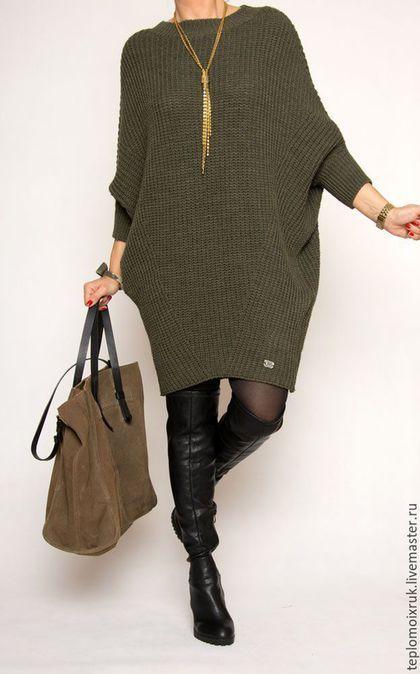 566eb4ab030 Купить или заказать Платье - туника   Ирэн   в интернет-магазине на Ярмарке  Мастеров. Вязаное платье-туника в супер-актуальном стиле oversize.