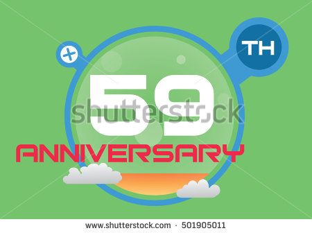 Anniversary Logo With Blue Circle Orange Liquid And Clouds