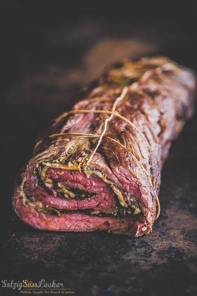 Photo of Flank steak roulade with chili sweet potato puree and black beans