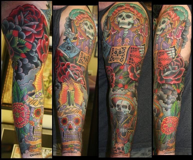 dia de los muertos tattoo sleeve google search tattoo inspiration pinterest tattoo. Black Bedroom Furniture Sets. Home Design Ideas