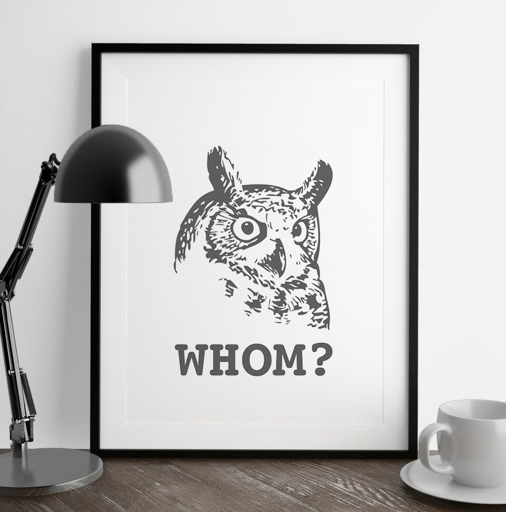 New to FuzzyandBirch on Etsy: Whom Owl Print   Grammatically Correct Owl   Funny Wall Art   Home Decor   Art Print   Kitchen Wall Art   Funny Art   Fuzzy and Birch (9.00 GBP)