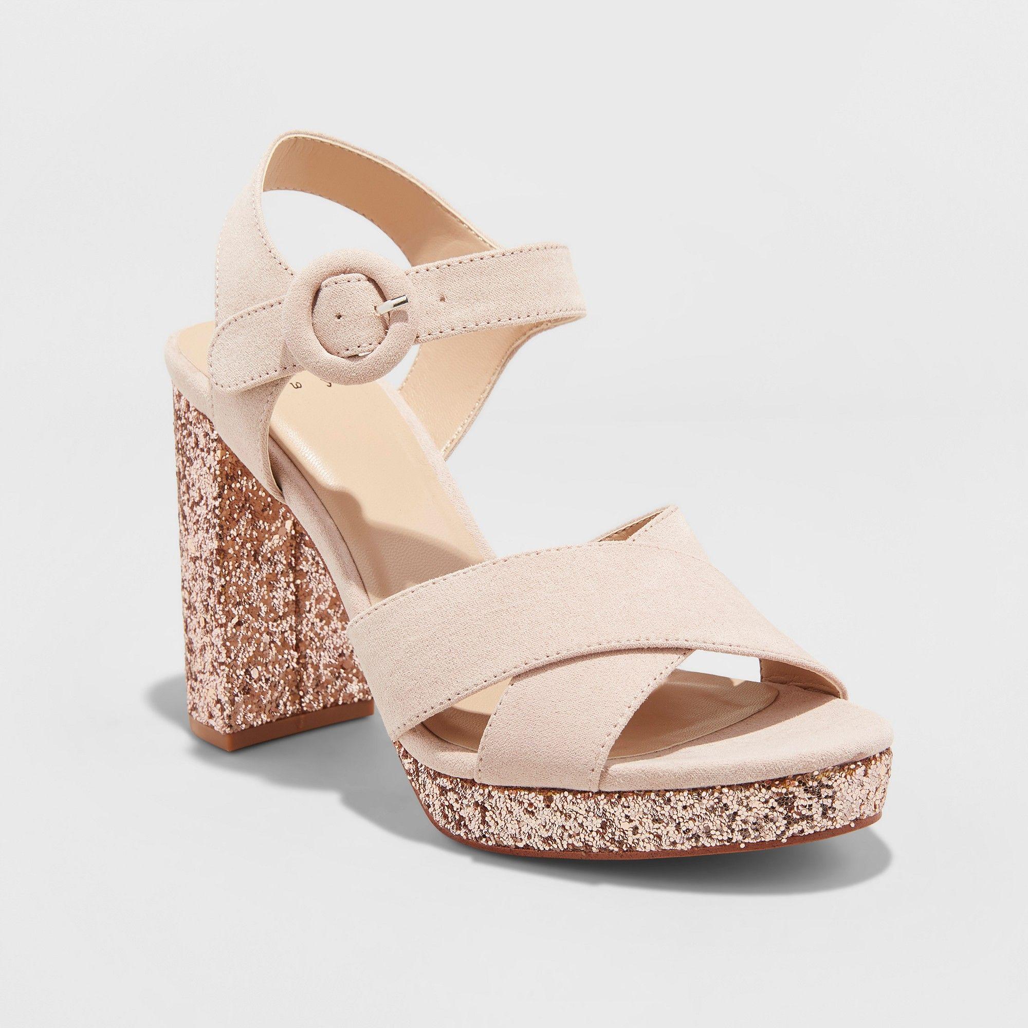 04a1d14b5aa Women s Fiona Glitter Satin Crossband Platform Quarter Strap Sandal - A New  Day Rose Gold 9.5