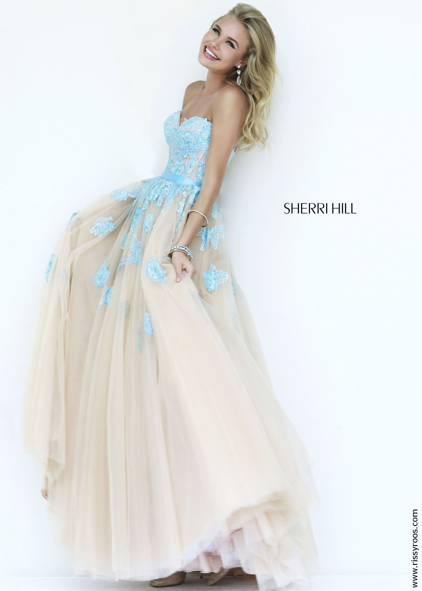 Sherri hill elegant lace ball gown in light blue and nude