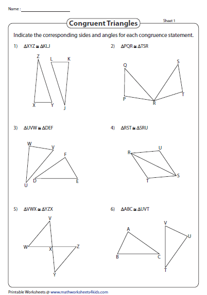 Indicate The Congruent Angles And Sides Triangle Worksheet Angles Worksheet Congruent Triangles Worksheet