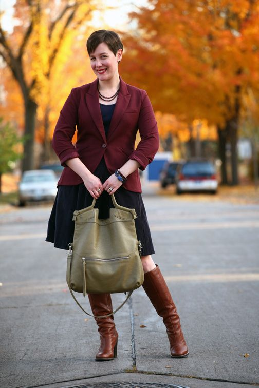 067ee282b0aa Already Pretty outfit featuring burgundy ponte riding blazer, navy blue  corduroy skirt, cognac leather boots, Foley + Corinna Mid-city Tote, lapis  bracelet