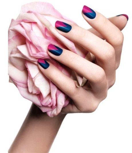 Navy and Fuchsia Manicure