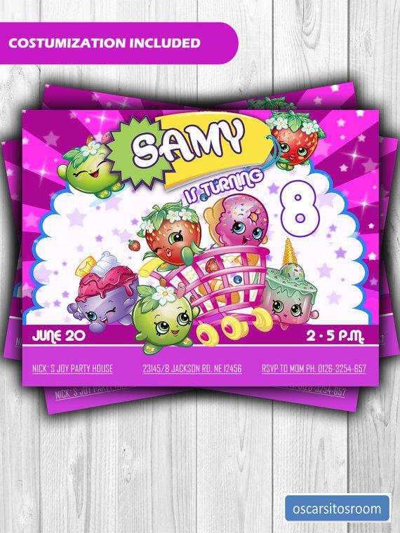 Shopskins invitation shopkins kids birthday party invitations and digital girly birthday invitation card for shopkins birthday filmwisefo