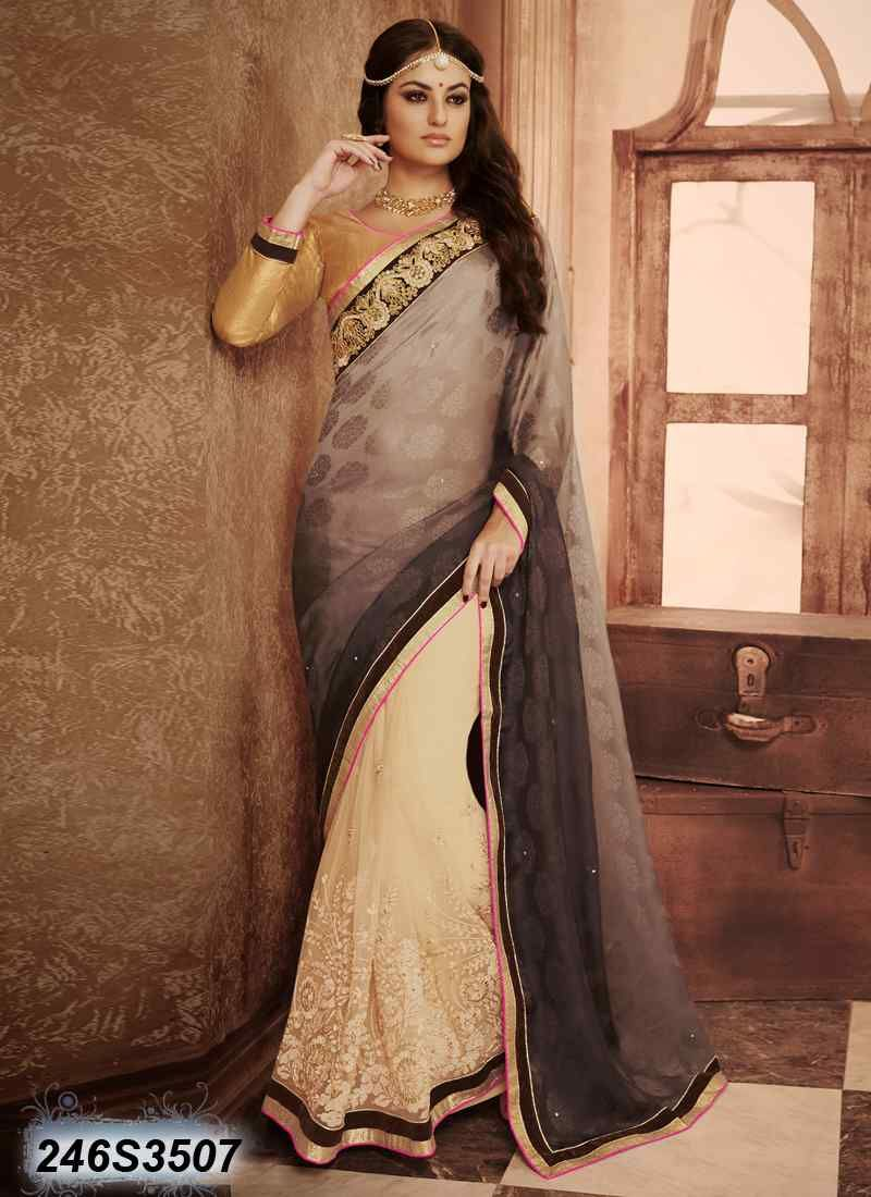 Saree for freshers party in college breezy beige coloured faux georgette embroidered saree  awesome