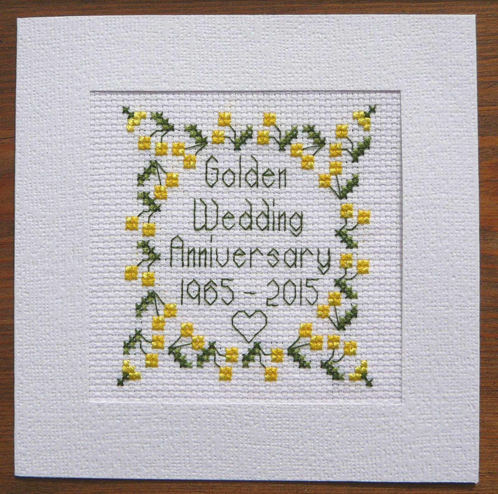 50th Golden Wedding Anniversary Card Cross Stitch Kit 100 Cotton Adia L011 Wedding Cross Stitch Cross Stitch Cards Cross Stitch Love