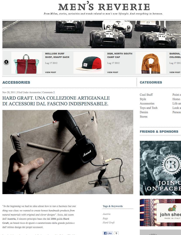"""""""Hard Graft. Una collezione artigianale  di accessori dal fascino indispensabile. […]"""" Men's Reverie    http://www.mensreverie.com/2011/11/hard-graft-una-collezione-artigianale-di-accessori-dal-fascino-indispensabile/"""