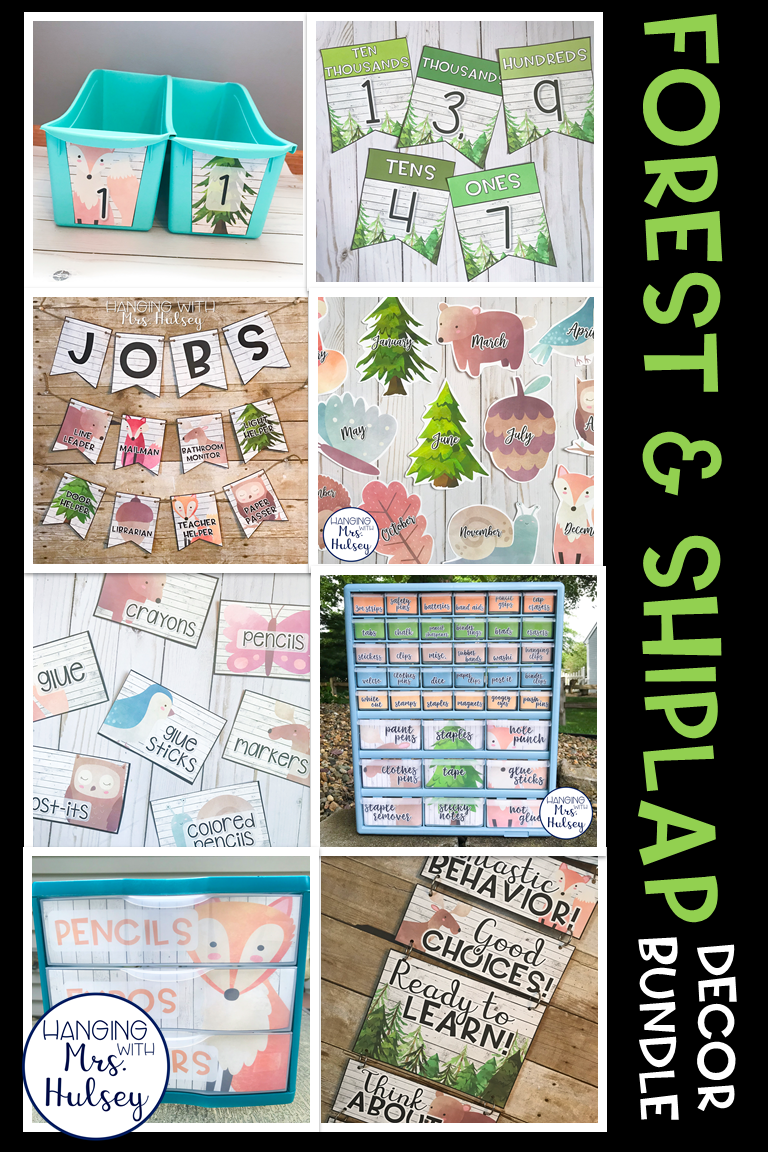 This editable classroom decor bundle will go perfectly in a forest, rustic, or shiplap themed room! I think they would also look great with camping classroom decor! #classroomdecor