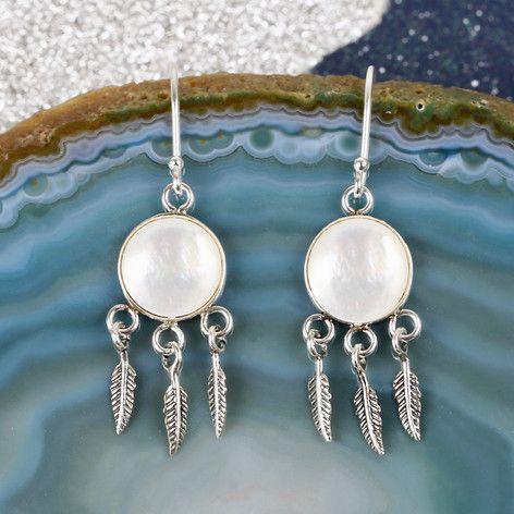 Sterling Silver Mother Of Pearl Dreamcatcher Drop Earrings