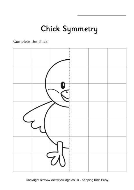 chick symmetry worksheet symmetry pinterest symmetry worksheets worksheets and math. Black Bedroom Furniture Sets. Home Design Ideas