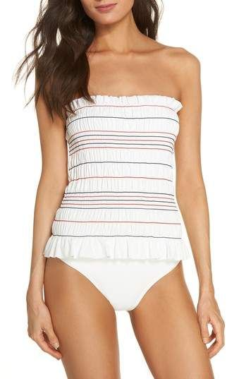 6965880b280b Tory Burch Costa Smocked One-Piece Swimsuit | Products | One piece ...
