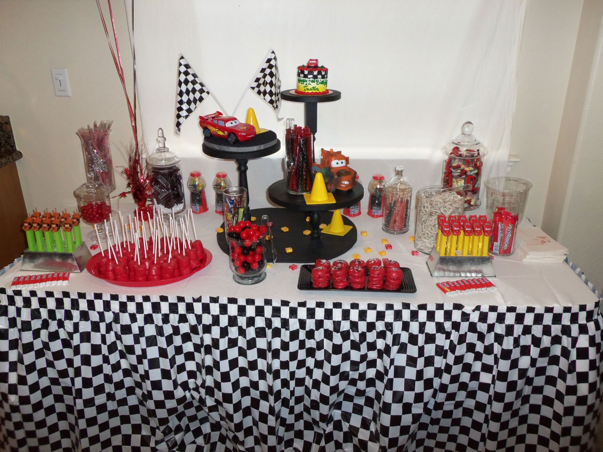 My Sons cars candy buffet table Party Ideas Pinterest