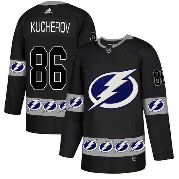 b80ddd51107 Lightning 66 Nikita Kucherov Black Team Logos Fashion Jersey   Sweet ...