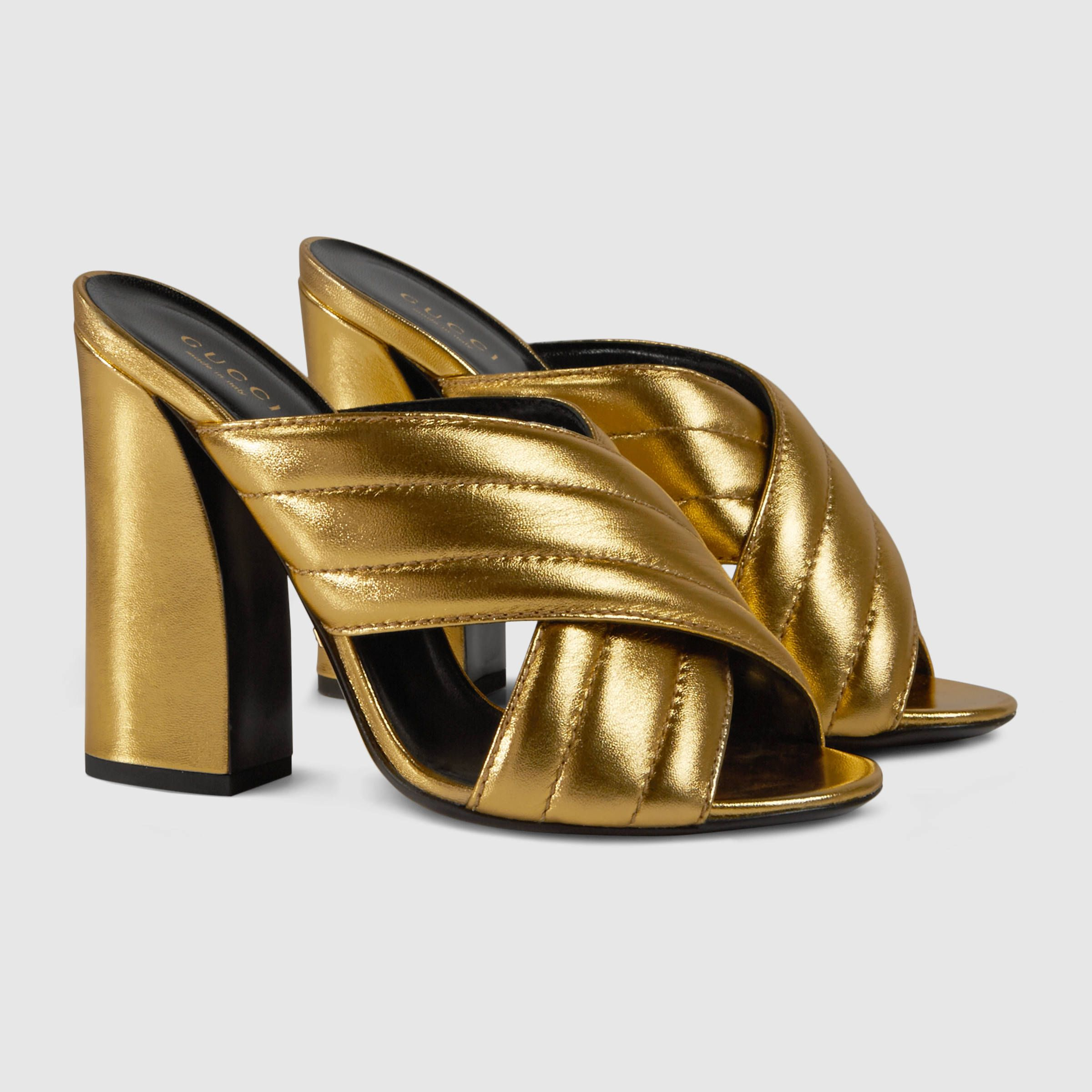 2741be53d9 Gucci Women - Gucci Metallic Gold crossover sandal - $595.00 ...