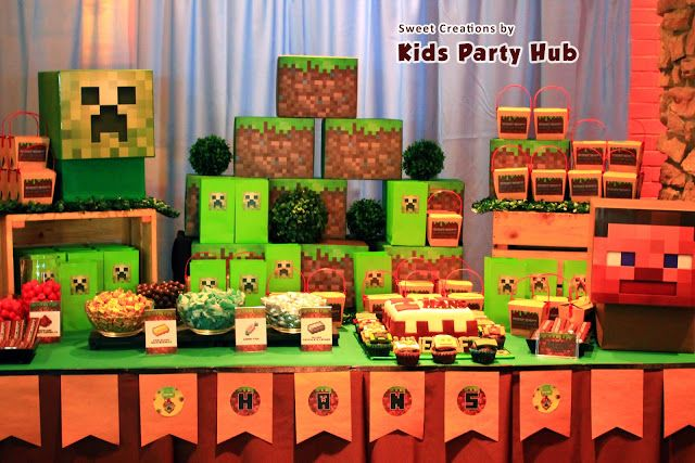 Heres Another Minecraft Themed Candy Buffet Which I Did For Hans Birthday Party In Chilis Greenhills What Love About Doing This Set Up Is Choosing