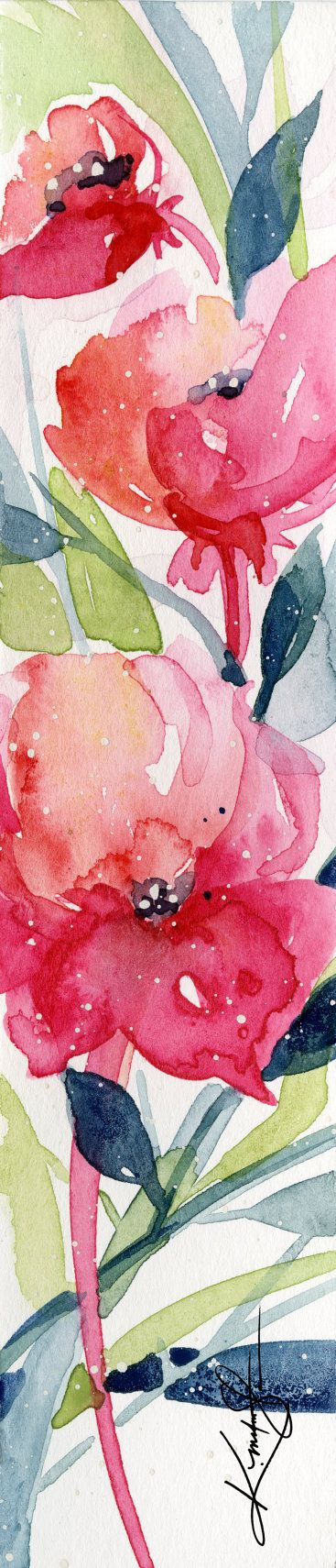 """Astratto pittura acquerello fiore, rosa, rosso, papavero, papaveri, piccola piccola arte """"Itsy Bitsy Blossoms 6"""" di Kathy Morton Stanion EBSQ"""