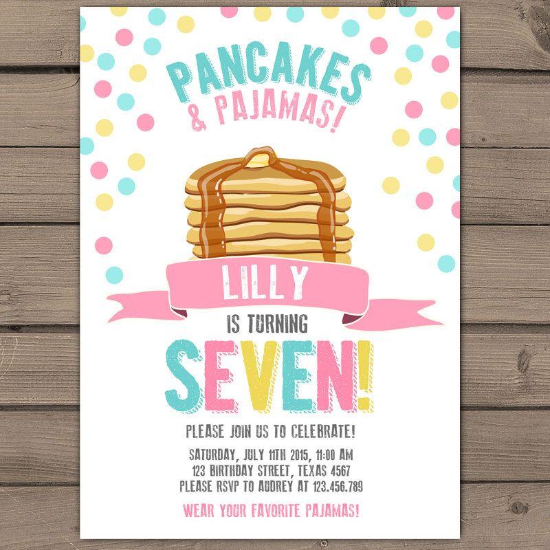 Pancakes and Pajamas Party Invitation Pancakes Pajamas Birthday ...