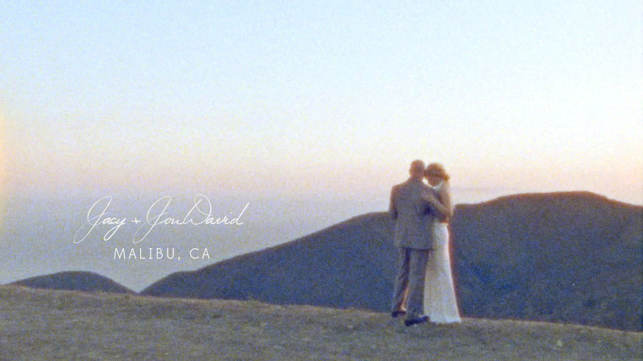 """Dave + Jacy   Malibu Elopement   Super 8 Destination Wedding Film. One incredible day we shared with one incredible couple.  Jacy and Jon David are beautiful and talented musicians that share their gift with all those around them, generously.  This vignette is a small represent ion of their love for one another and those closest to them.  Shot on Kodak Super 8 Motion Picture Film  Music:  """"Flowers Bloom"""" by High Highs Available on iTunes https://itun.es/i66334r  """"Incarnation Song"""" by Chris…"""