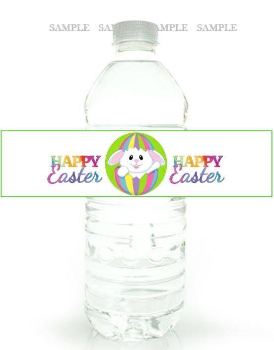 Easter Digital Water Label Easter Bunny Water Bottle Label Easter