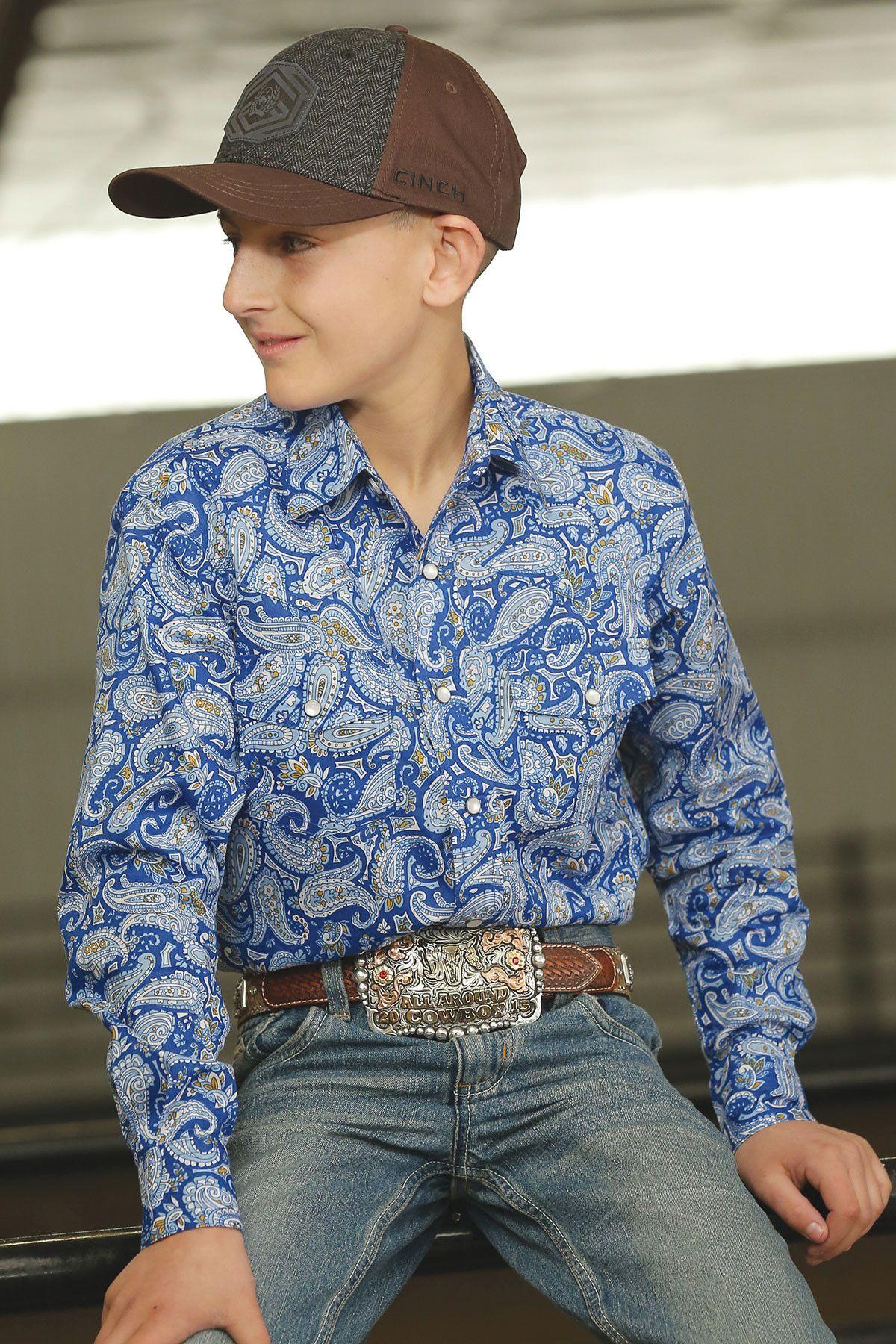 Cinch Boy/'s Teal /& Mint Vintage Print Shirt MTW7062214 MTW7061214 MTW7060214