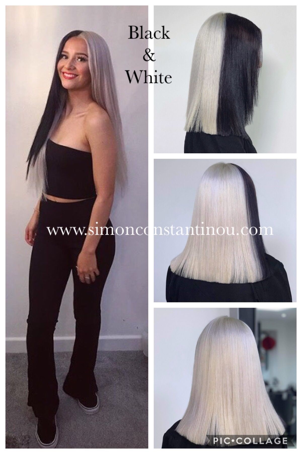 We Love It When Soph Has A Hair Idea This Black Streak Added Into Platinum Blonde Gives Her The Opportunity Hair And Beauty Salon Ombre Hair Hair Color Trends