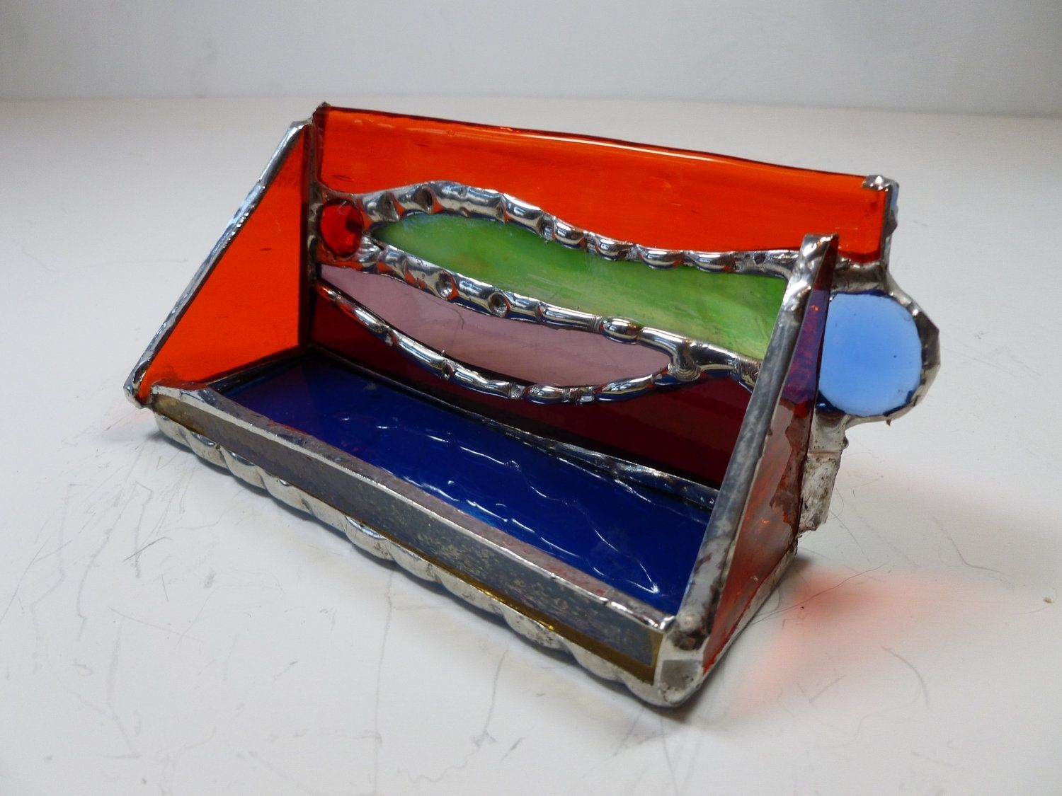 Custom Made Multi-Colored Stained Glass Business Card Holder With ...