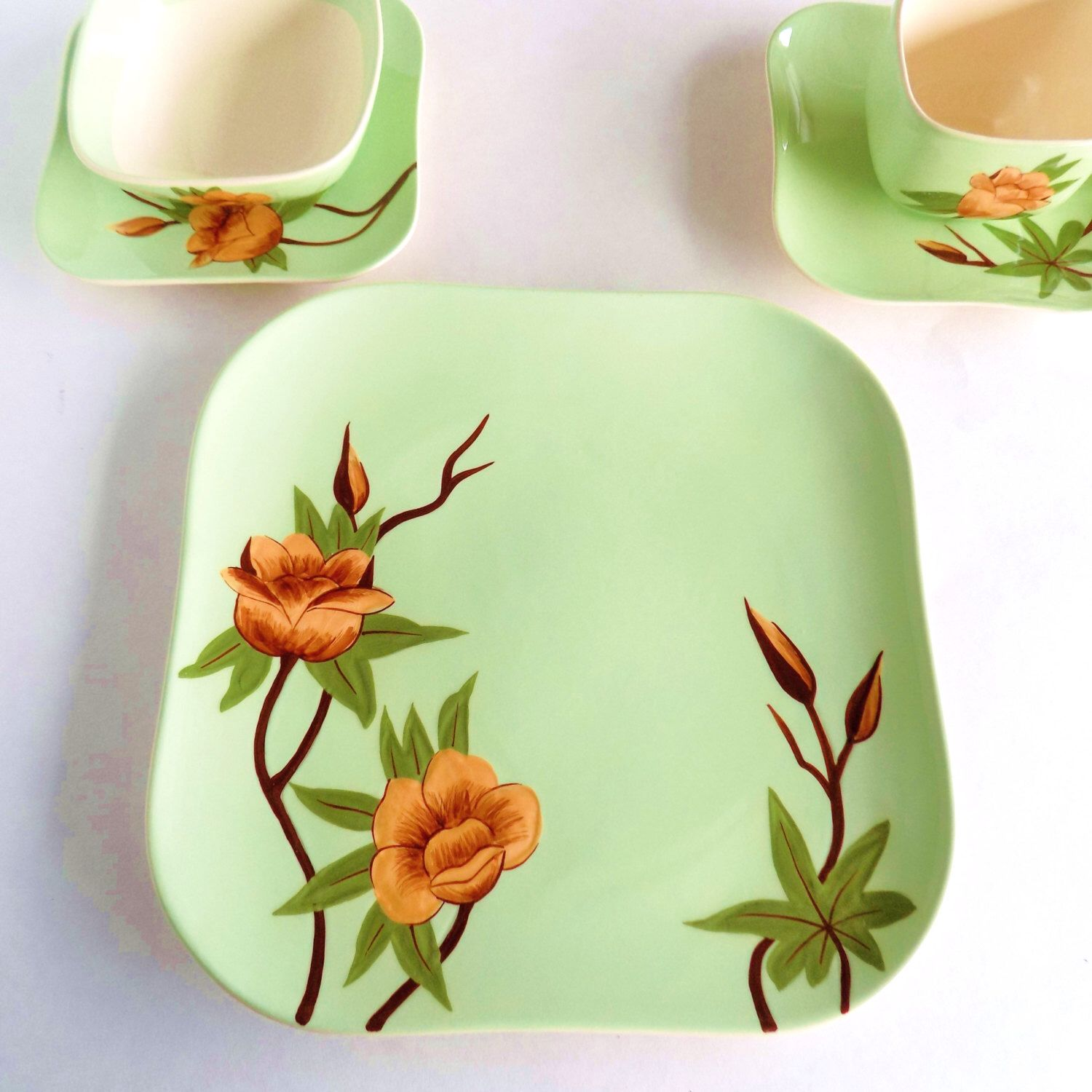 """Rose"" dinnerware pattern on green background, c. 1950 by"