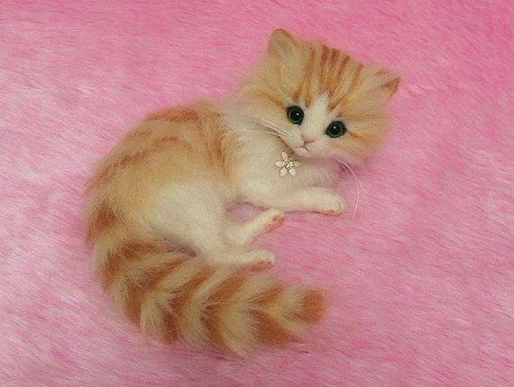 Needle Felted Cute Fluffy Kitten: Miniature by LilyNeedleFelting