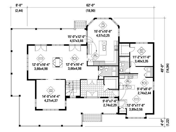 1st Floor Plan 072h 0177 Multigenerational House Plans House Plans How To Plan