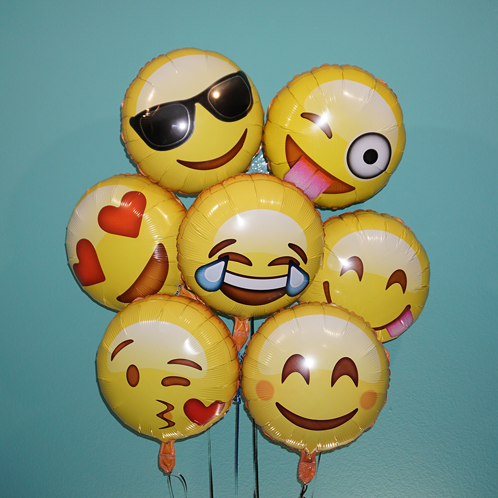 Funny balloon faces - Emoji 18 Variety Of Emoji Faces Helium Balloon 7 Pack