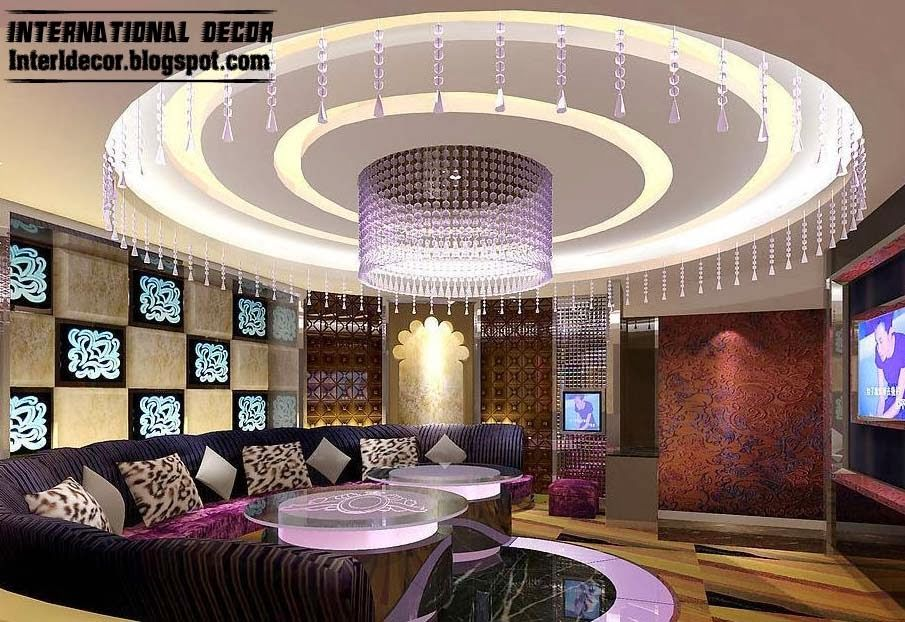 Round Pop Ceiling Lighting For Small Living Room With Flat Screen Tv False Ceiling For Hall Ceiling Lights False Ceiling #pop #design #in #living #room