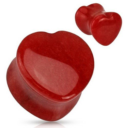 $10.25! Amazon.com: *RED HOT* Organic Heart Shaped Red Jade Natural Stone Saddle Plug - 00G (10mm): Jewelry