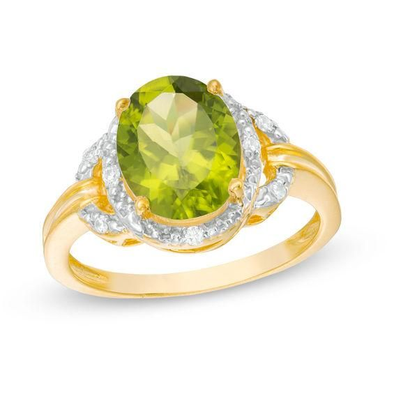 Zales Oval Peridot Solitaire Stud Earrings in 10K Gold G7rjlY