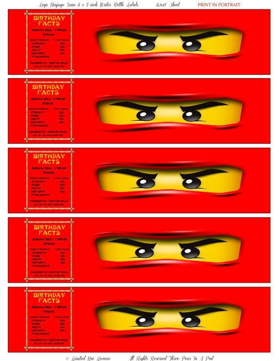 Instant Download Lego Ninjago Kai Printable Water Bottle ...