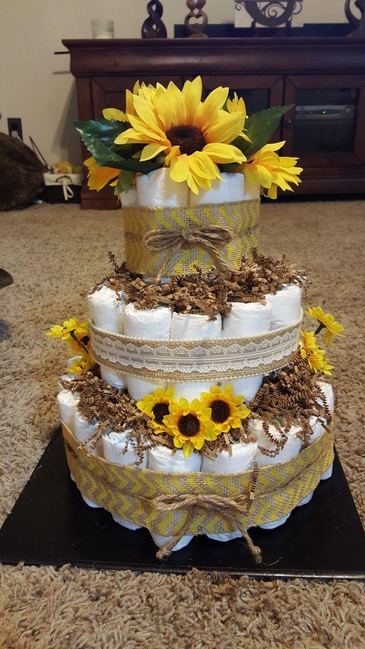 Sunflower Diaper Cake Baby Shower Flowers