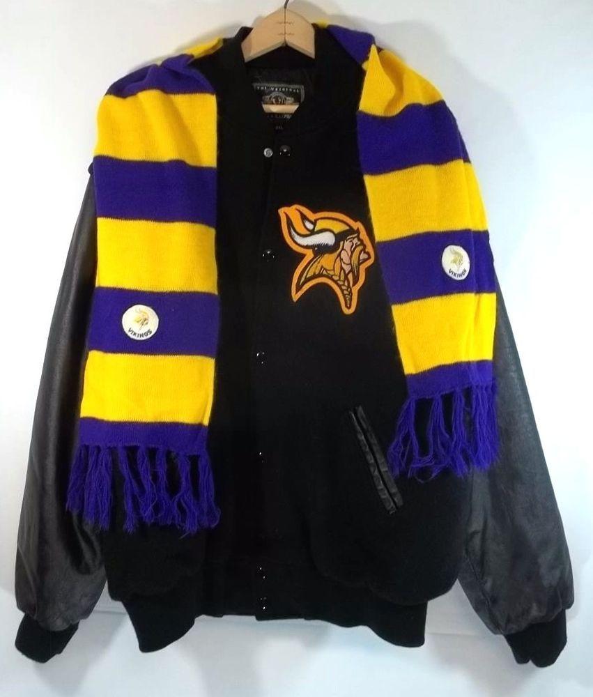 Varsity Jacket Minnesota Vikings Patch Leather Sleeves 2XL Vintage Scarf  c0f91f4f3