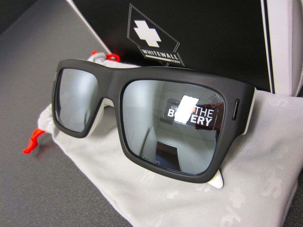 fbaf602166d New SPY Optic Bowery Sunglasses Whitewall Frame with Black Mirror Lens