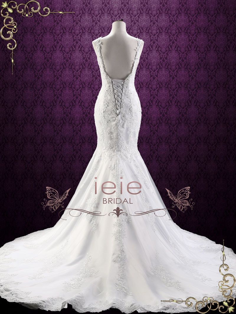 Mermaid Backless Lace Wedding Dress With Open Corset Back Portia