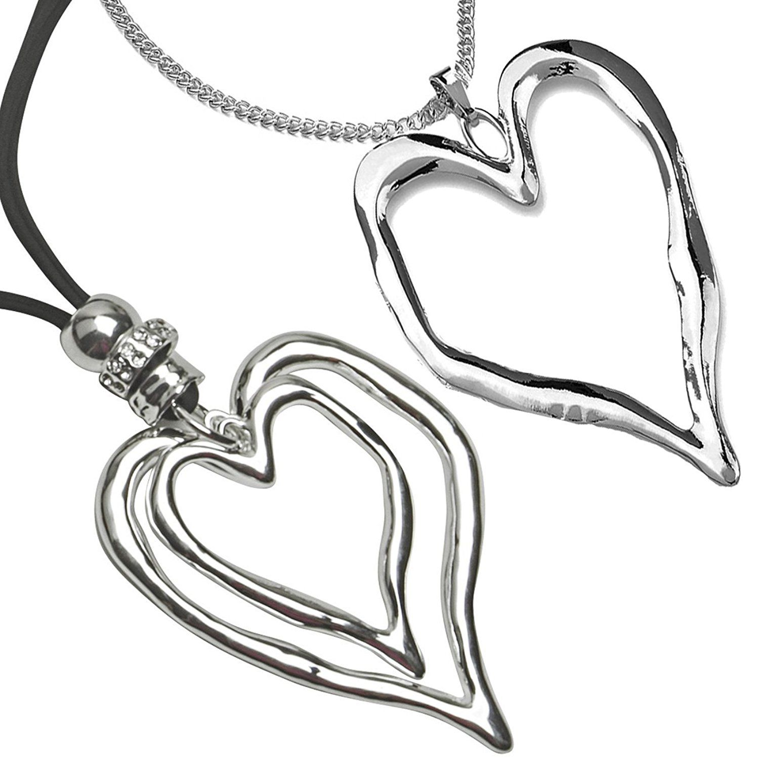 Two different styles large silver heart pendant costume jewellery two different styles large silver heart pendant costume jewellery necklace designs be sure to mozeypictures Images