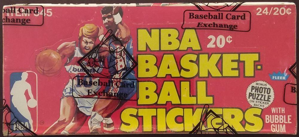 197980 fleer basketball stickers wax box bbce