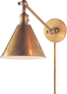 antique brass library light perfection! found a nice little home (with its twin) above bed in master bedroom.