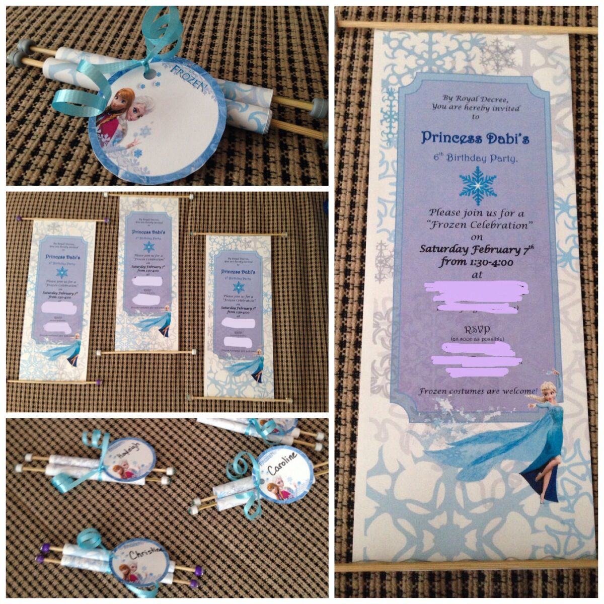 Finished the home made scroll invitations. Who knew pony beads + skewers + dollar store gem sticker = scroll!