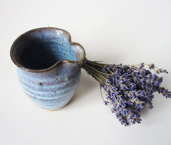 Handmade Pottery Creamer Blue Glaze  no Handle by Latrouvaille, 9.00
