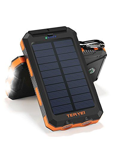 Solar Charger Teryei Solar Power Bank 15000mah External Backup Outdoor Cell Phone Battery Charger W Solar Power Bank Solar Phone Chargers Portable Battery Pack