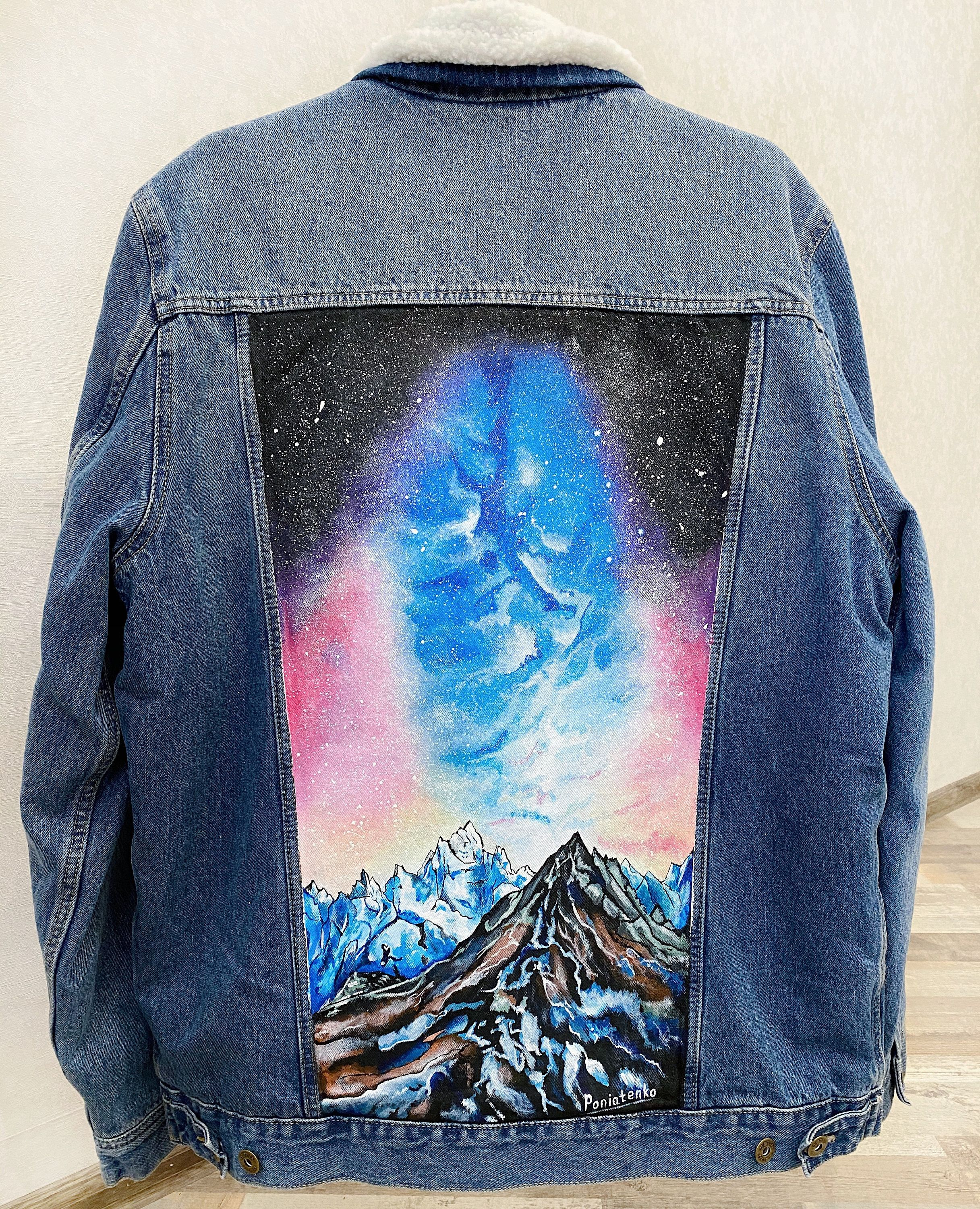 Customized Hand Painted Jean Jacket With Mountains Space Art Etsy Hand Painted Denim Jacket Denim Jacket With Fur Painted Jeans [ 3000 x 2433 Pixel ]