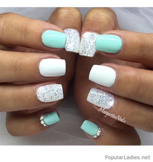 White And Blue Gel Nails With Some Glitter Gel Nails Cute Nails Nail Designs